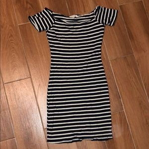 Short navy blue and creamy stripes dress